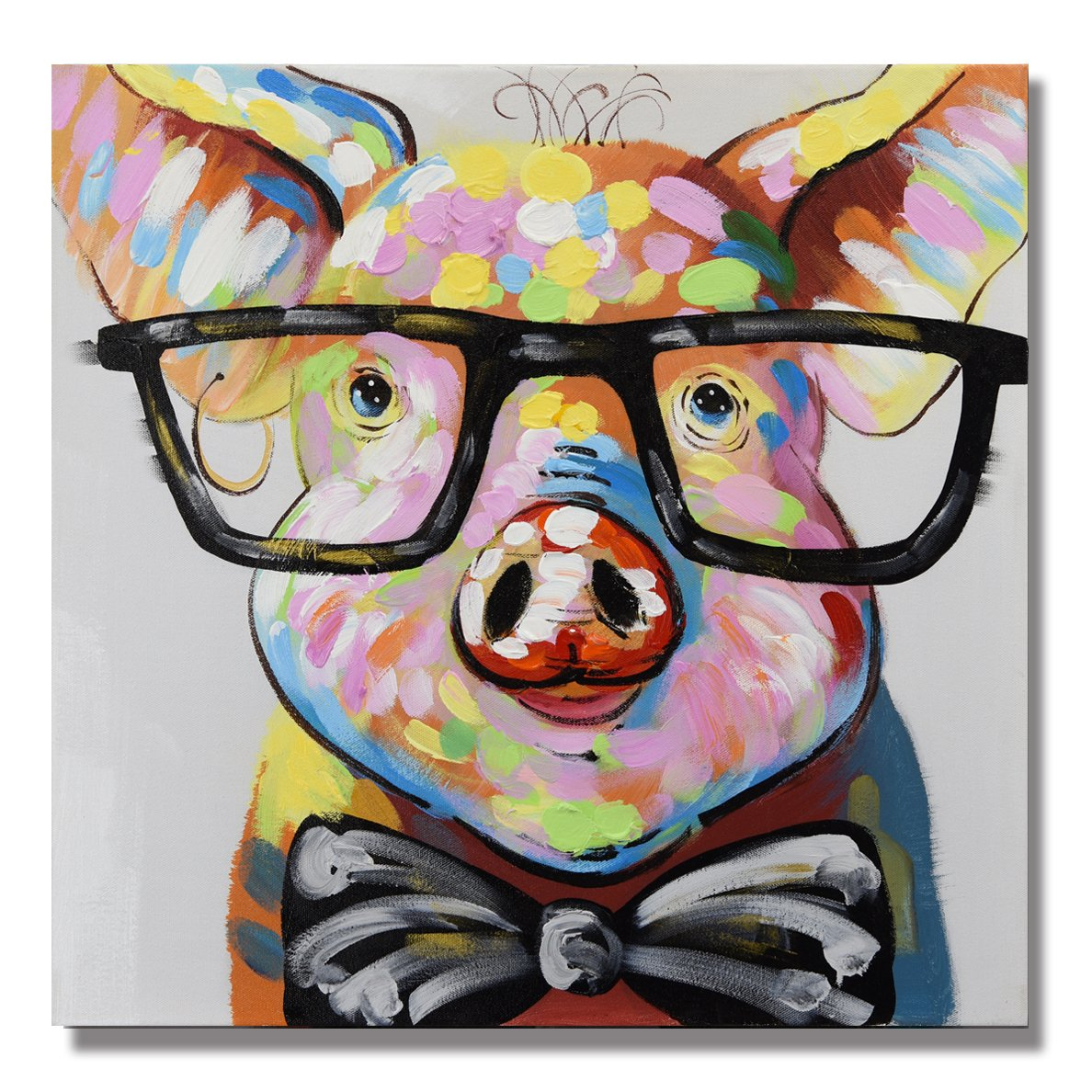 7CANVAS 100% Hand Painted Oil Painting Animal Smart Pig with Stretched Frame Wall Art for Home Decor Ready to Hang (Pig,24x24) by 7CANVAS