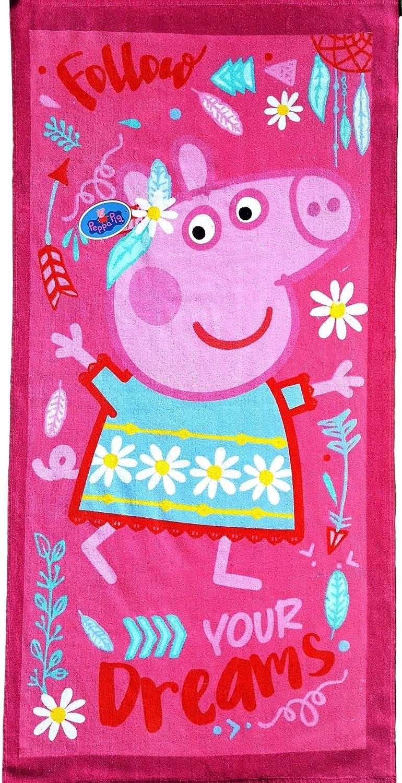 Badetuch Peppa Pig Wutz Handtuch Strandtuch im Baumwolle 70x140 cm Velours rosa