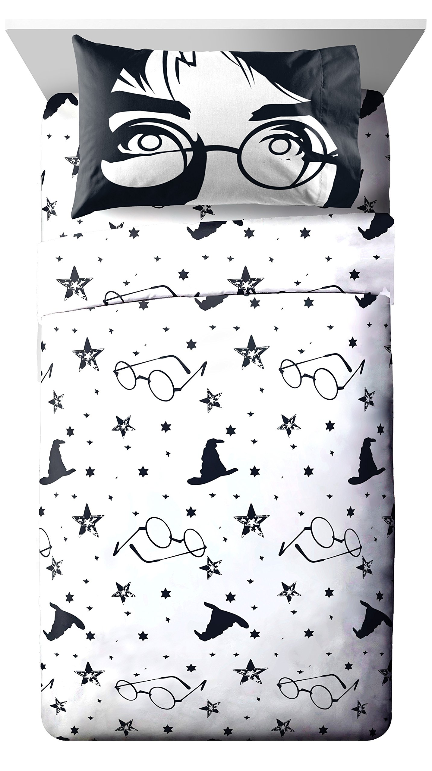 D.I.D. 4 Piece White Black Harry Potter Full Sized Sheet Set, Movie Hogwarts Bedding HP Glasses Wizard Hat Stars Magical Face Fan Gear, Polyester