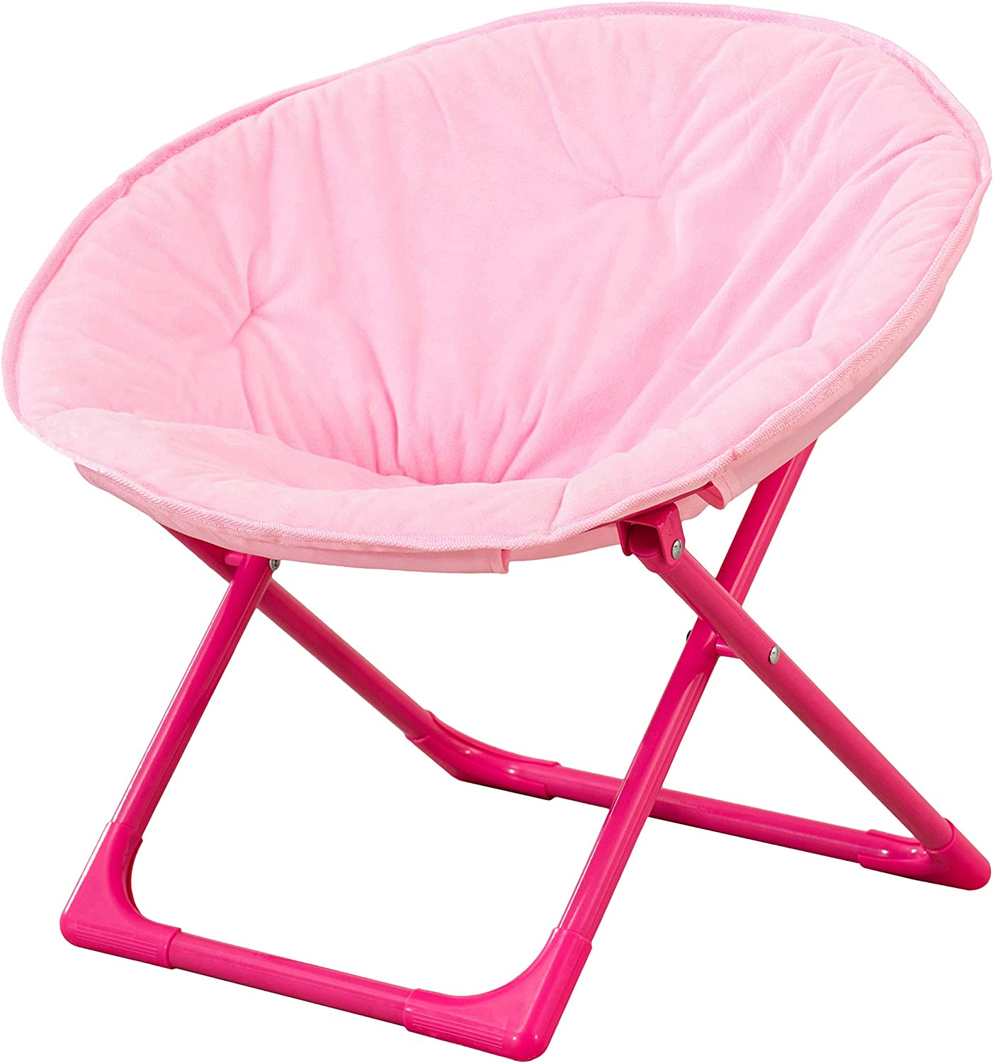 AmazonBasics Kids Folding Moon Indoor Papasan Chair for Children - Solid Pink