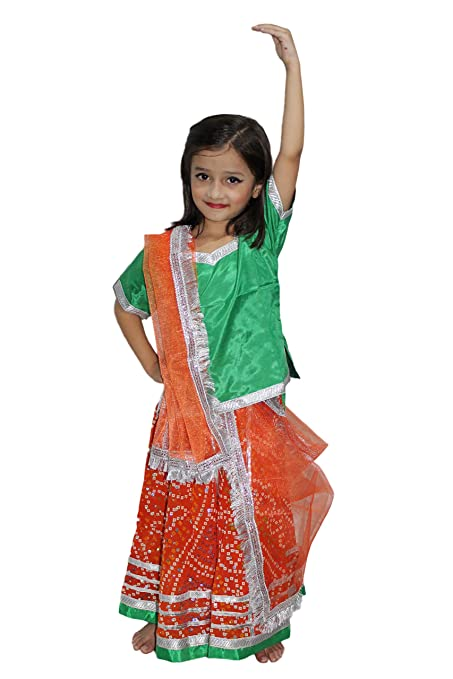 fe7e3b240 Kaku Fancy Dresses Rajasthani Georgette Lehnga for Girl (Orange, 7 to 8  Years)