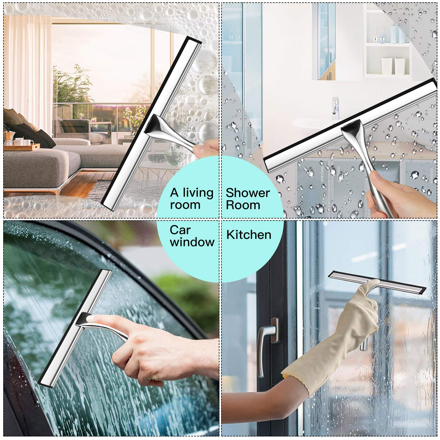 FANSIN All-Purpose Shower Squeegee for Shower Doors, Bathroom, Window and Car Glass - Stainless Steel, 10 Inches (10 inches)
