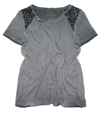 8c1eaffa American Eagle Women's Soft & Sexy Lace Inset T-Shirt W-28 (X-Small, 001  Charcoal) at Amazon Women's Clothing store:
