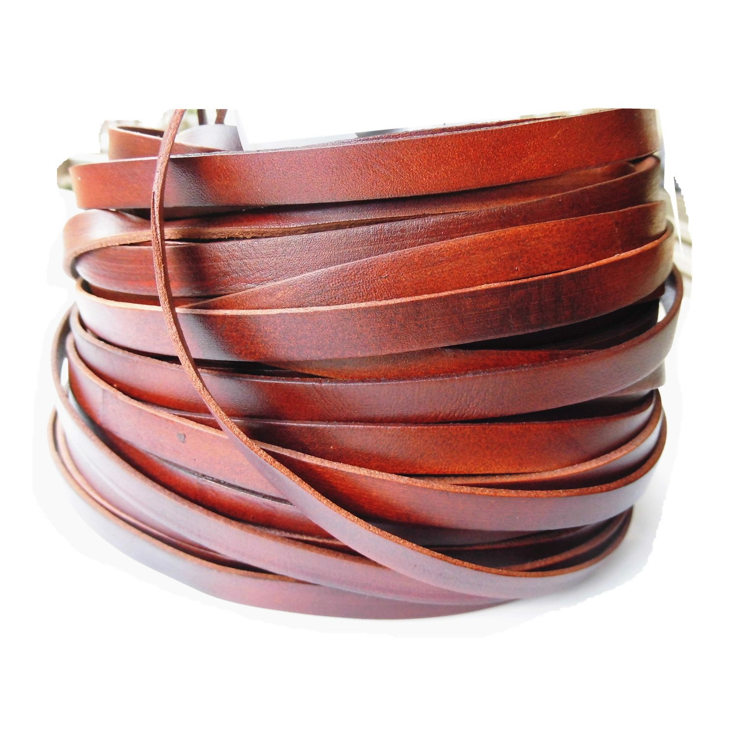 Glory Qin 50 Yards 10mmx2mm Genuine Cow Hide Flat Leather Srip, 10mm Wide Real Leather Craft for Jewelry Making LeatherRush (Brown)