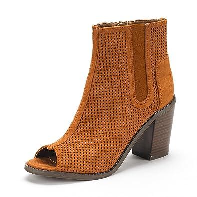 DREAM PAIRS Women s Reuters Tan Peep Toe Ankle Booties Shoes - 5.5 ... 87c105d3d1