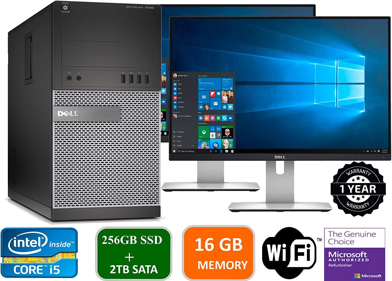 """Dell Optiplex 9020 Mini Tower Desktop PC, Intel Core i5-4570, 16GB Ram, 2TB SATA Drive + 256GB SSD WiFi, DVD-RW, Dual 19"""" LCD, Windows 10 Pro (Renewed)"""