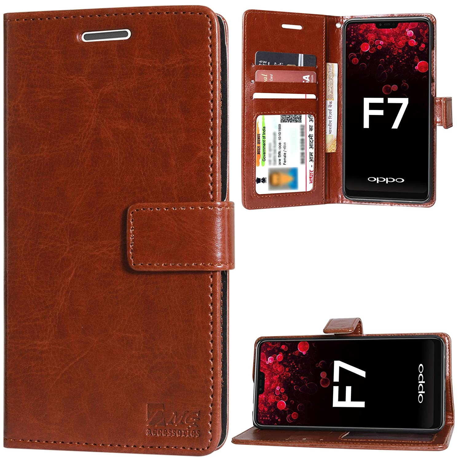 buy online aeca5 11e03 DMG Leather Flip Cover for Oppo F7, Wallet Flip Cover Stand Case for Oppo  F7 (Leather Brown)