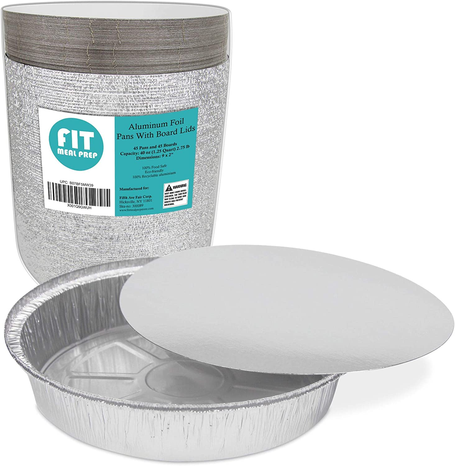 50 Pack 9 Inch Disposable Round Aluminum Foil Take-Out Pans with Plastic Lids