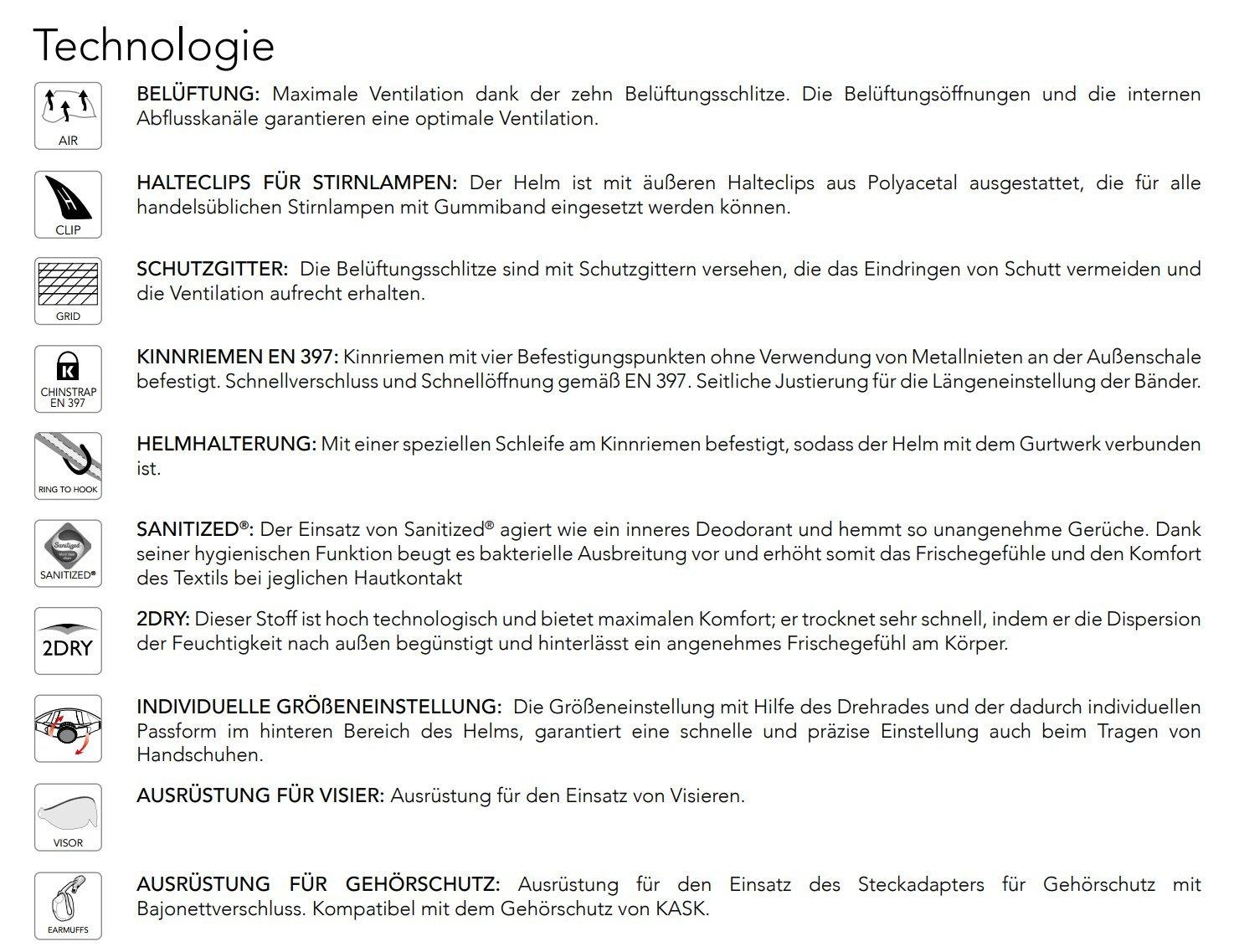 Kask Plasma AQ Arbeitshelm Bauhelm Kletterhelm Profi Helm geeignet als Sicherheitshelm Industriehelm EN 397 zertifiziert Bergsteigerhelm