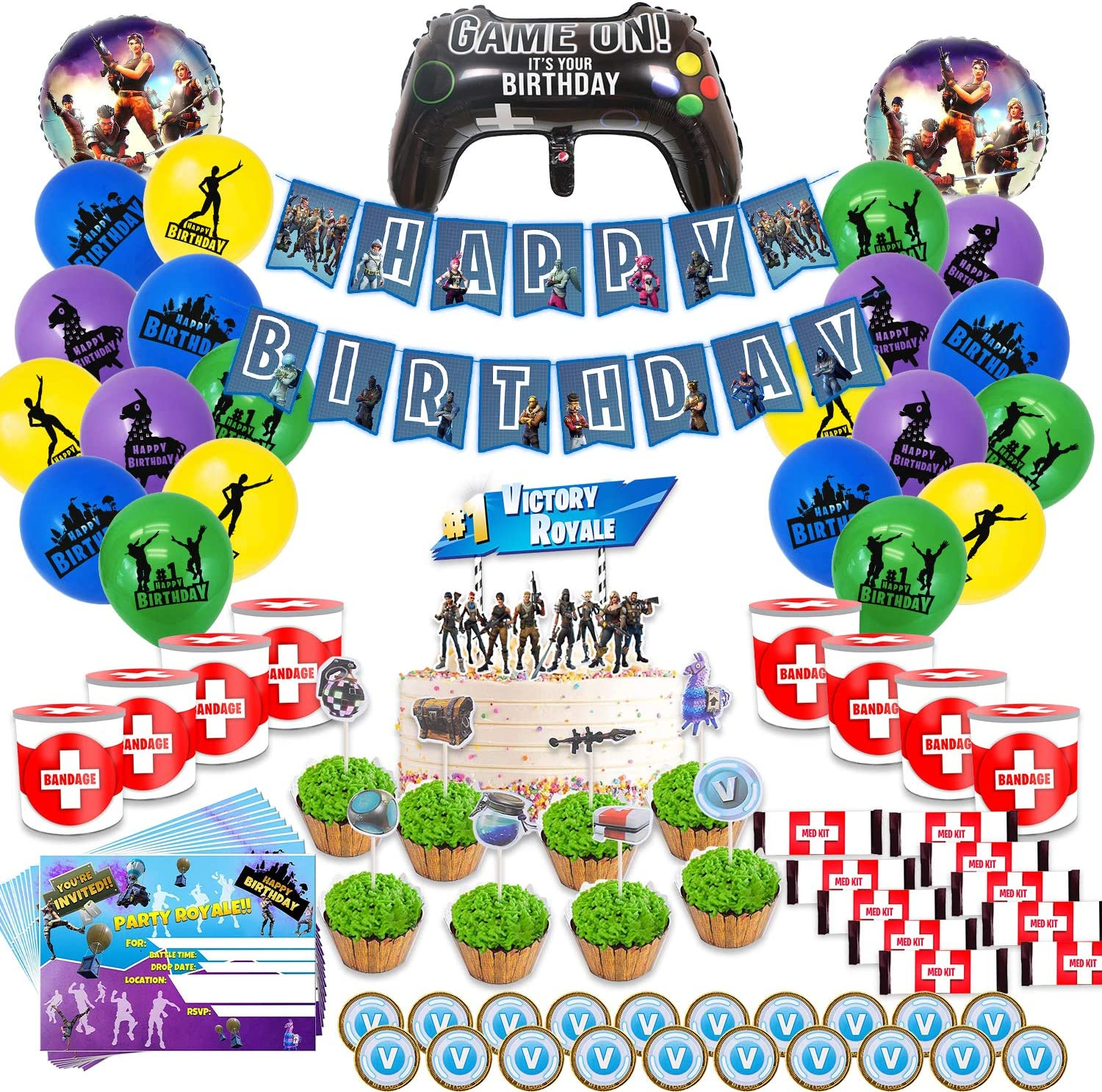 Video Game Party Supplies Includes Cake, Cupcake Toppers, Balloons, Banner, Invitation Cards, Chocolate Coins, Chocolate Bar Wrappers, Chip Can Labels Perfect Battle Royale Decorations Favors for Kids