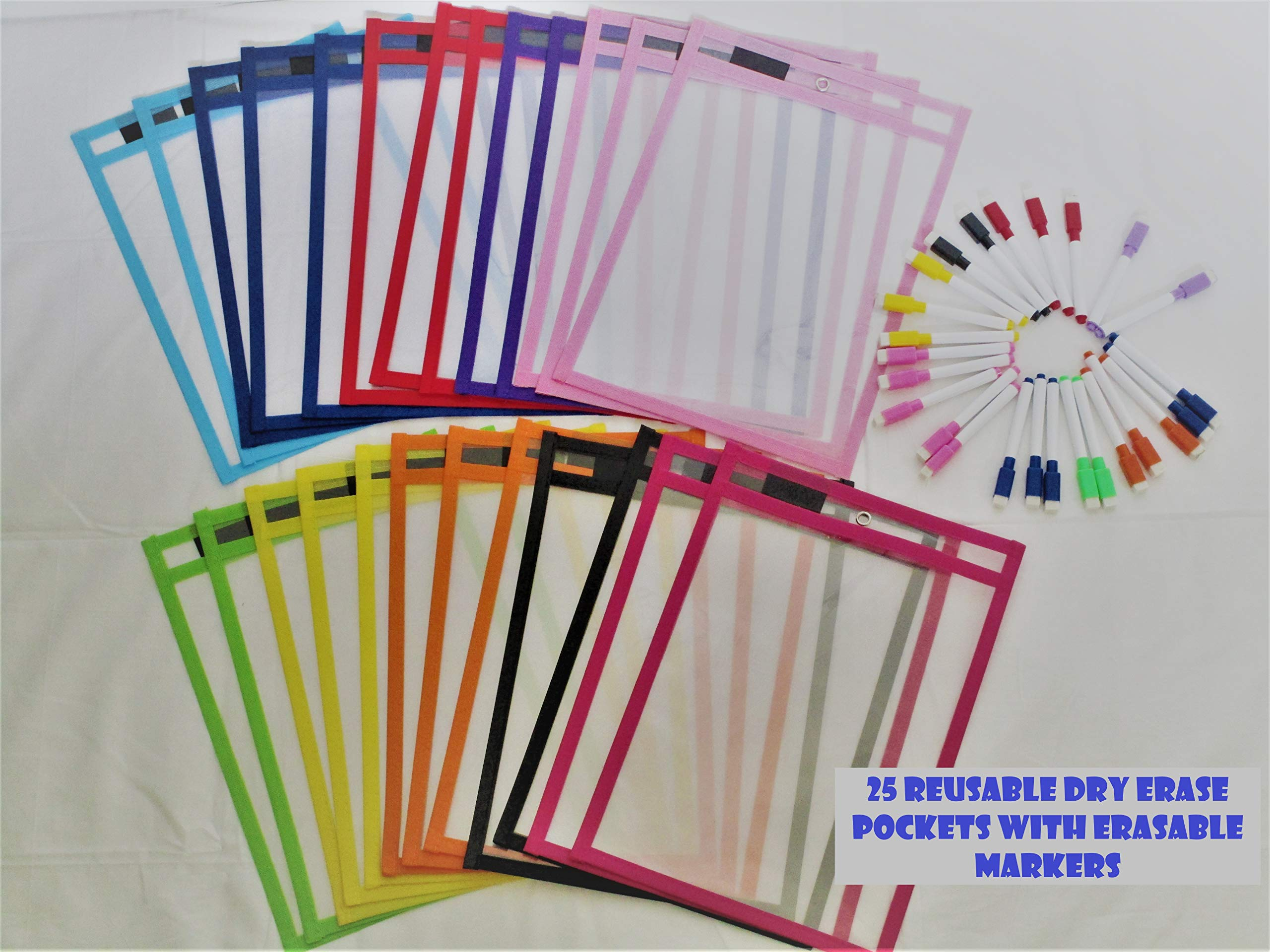 Reusable Dry-Erase pockets 25 pack with 25 Erasable Markers (25) by ZM777 (Image #1)
