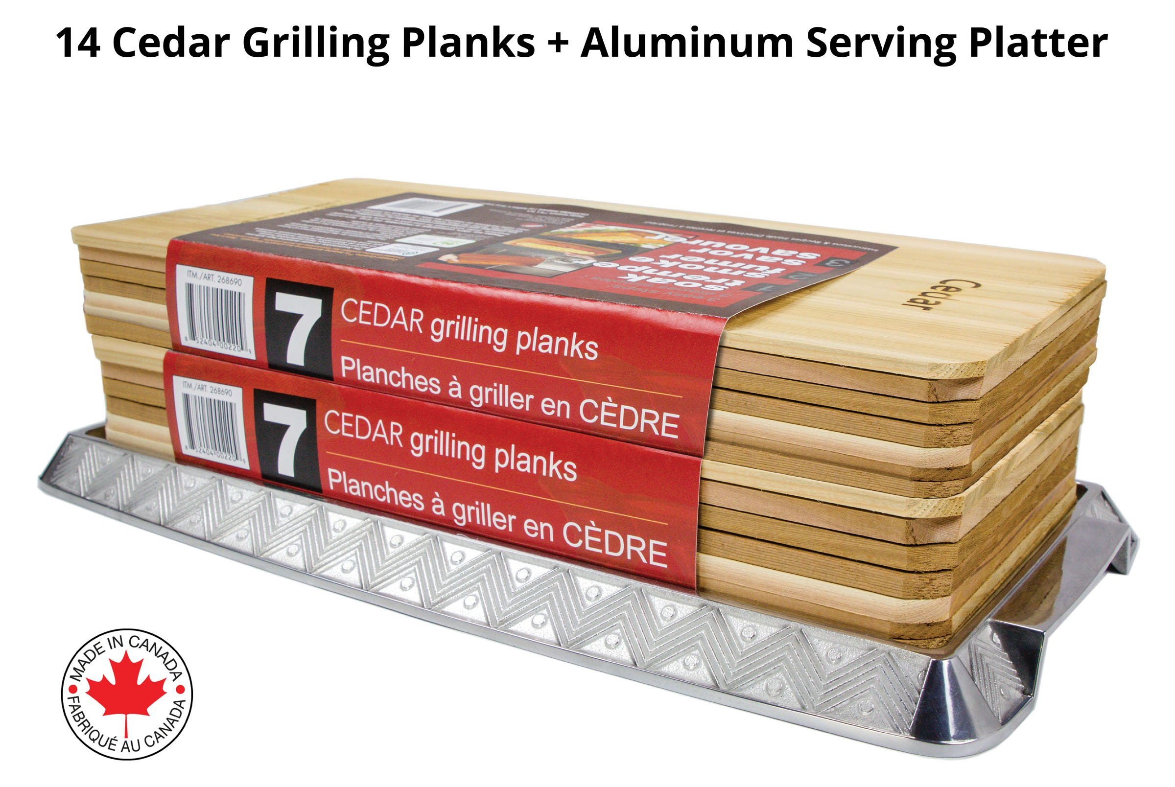 Coastal Cuisine 14 Pack 7x16'' Cedar Grilling Planks + Aluminum Serving Platter – Perfect for any grilling enthusiast.  Enjoy delicious restaurant quality meals and a stunning presentation.
