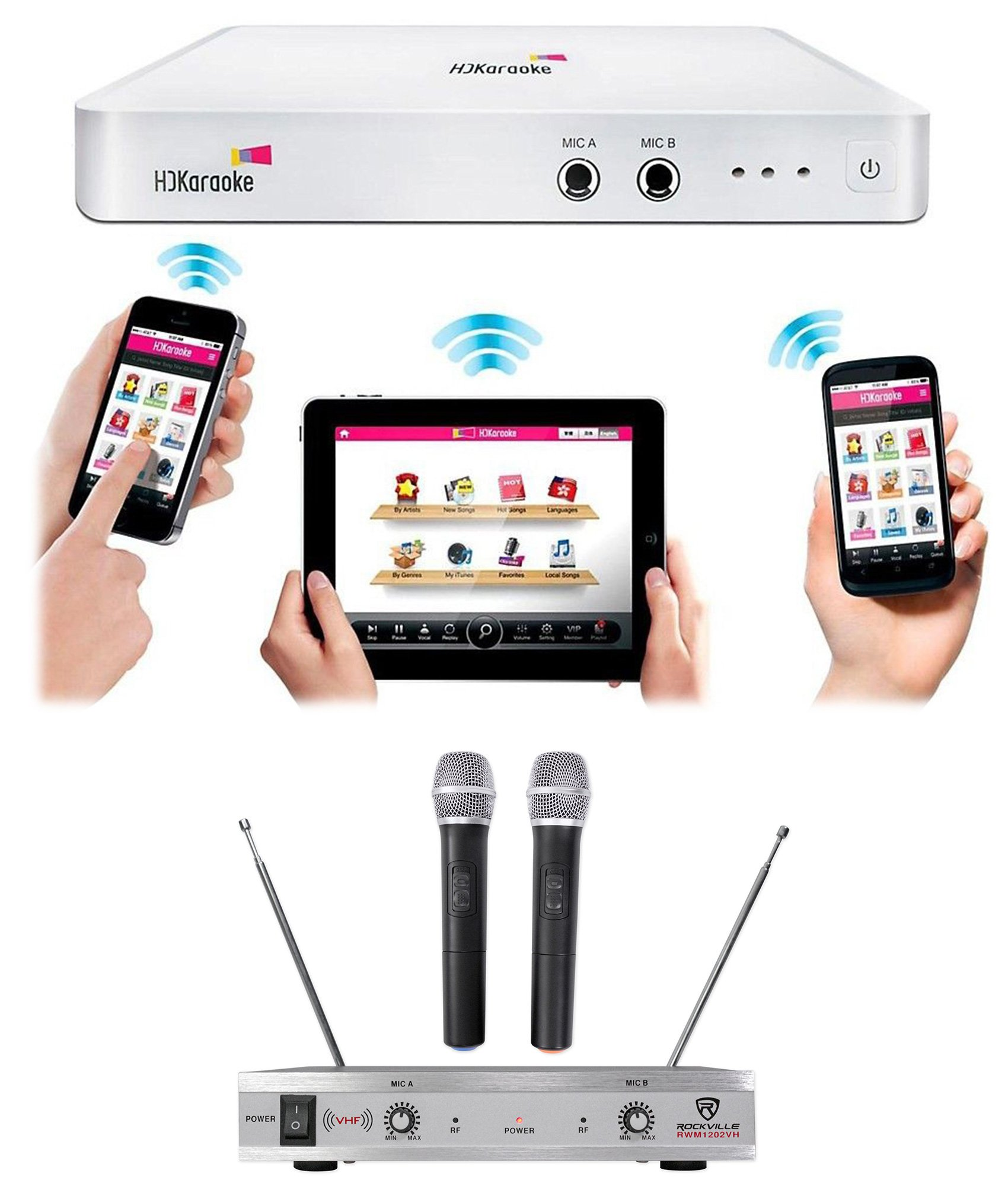 HDKaraoke HDK Box 2.0 Wi-Fi Karaoke Machine System 4 TV, iPad+(2) Wireless Mics by HDKaraoke