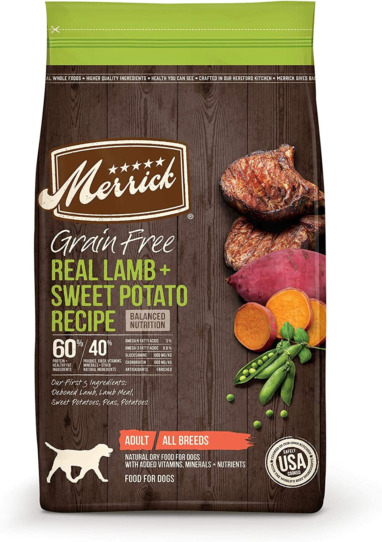 Merrick Grain Free Lamb + Sweet Potato Recipe Dry Dog Food, 4 lbs.