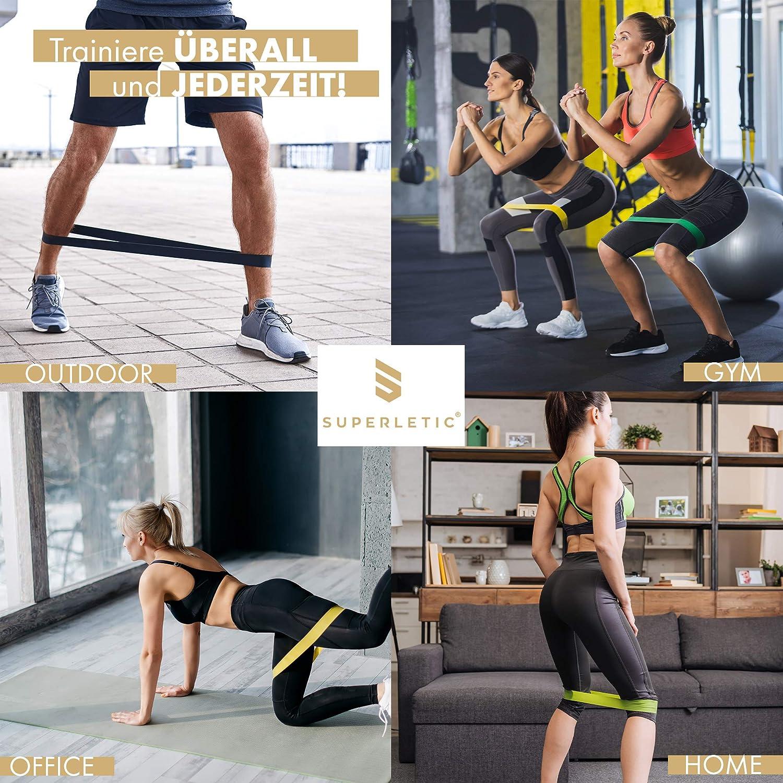 SUPERLETIC Mini Resistance Bands 5er Set I Fitness Band Set I Gymnastikband Set in verschiedenen St/ärken I Gummiband f/ür Muskelaufbau