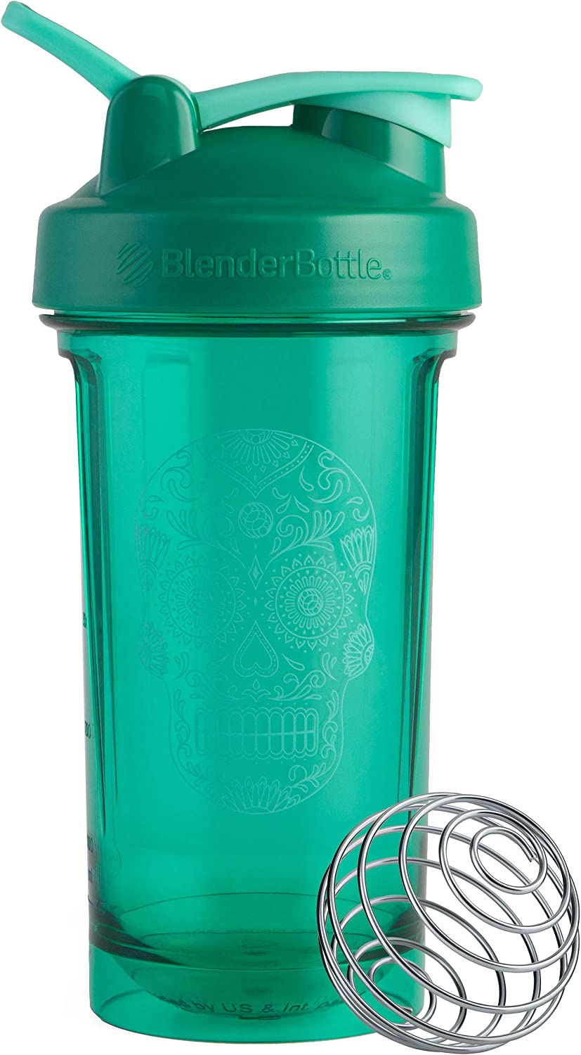 BlenderBottle Sugar Skull Pro Series 24-Ounce Shaker Bottle, Emerald Green