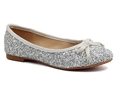 c346c79cff01 Greatonu Childrens Silver Glitter Studded Party Shoes Ballerinas with Bow  Tie Size 30 EU