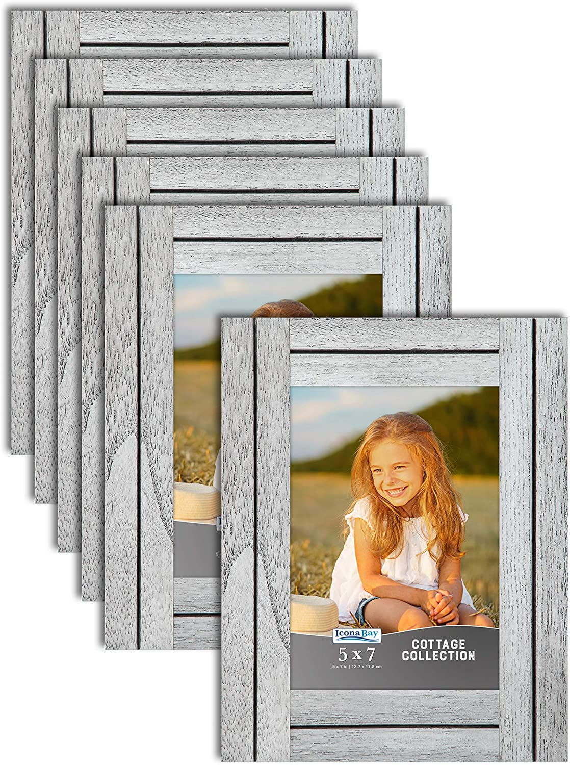 Amazon Com Icona Bay 5x7 13x18 Cm Picture Frames Farmhouse White 6 Pack Rustic Picture Frame Set Natural Real Wood Frames Cottage Collection
