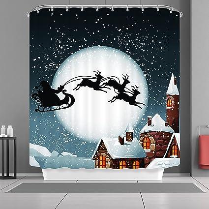 VANCAR Christmas Shower Curtain Winter Snow Snowflakes Christmas