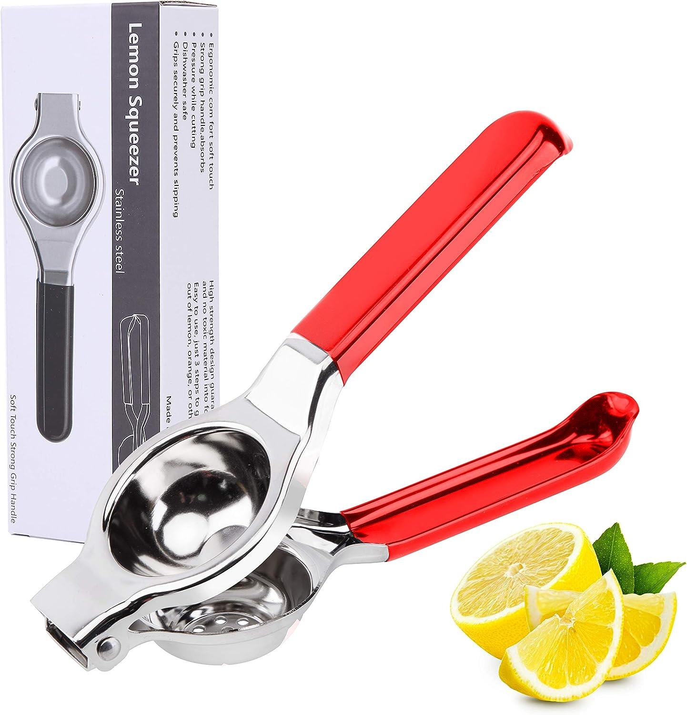 Latauar Manual Lemon Squeezer, Stainless Steel Citrus Press Juicer - Handheld Lemon Juicer and Lime Squeezer. Dishwasher Safe(Red)