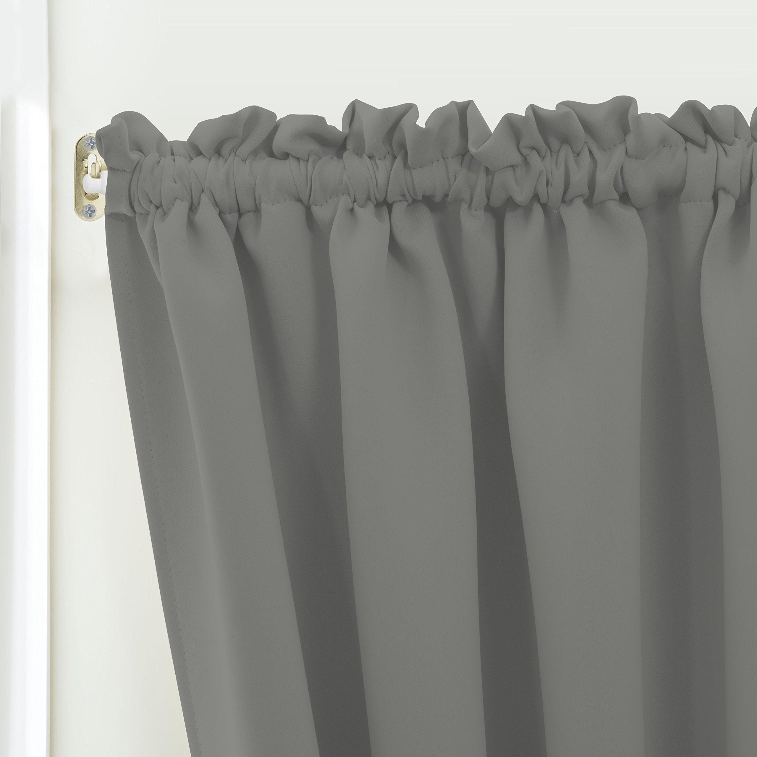 Blackout Door/ Window Curtain Panels for Privacy - Aquazolax 54W x 40L Blackout Window Treatment Curtains for French Door - 1 Panel, Grey by Aquazolax (Image #6)