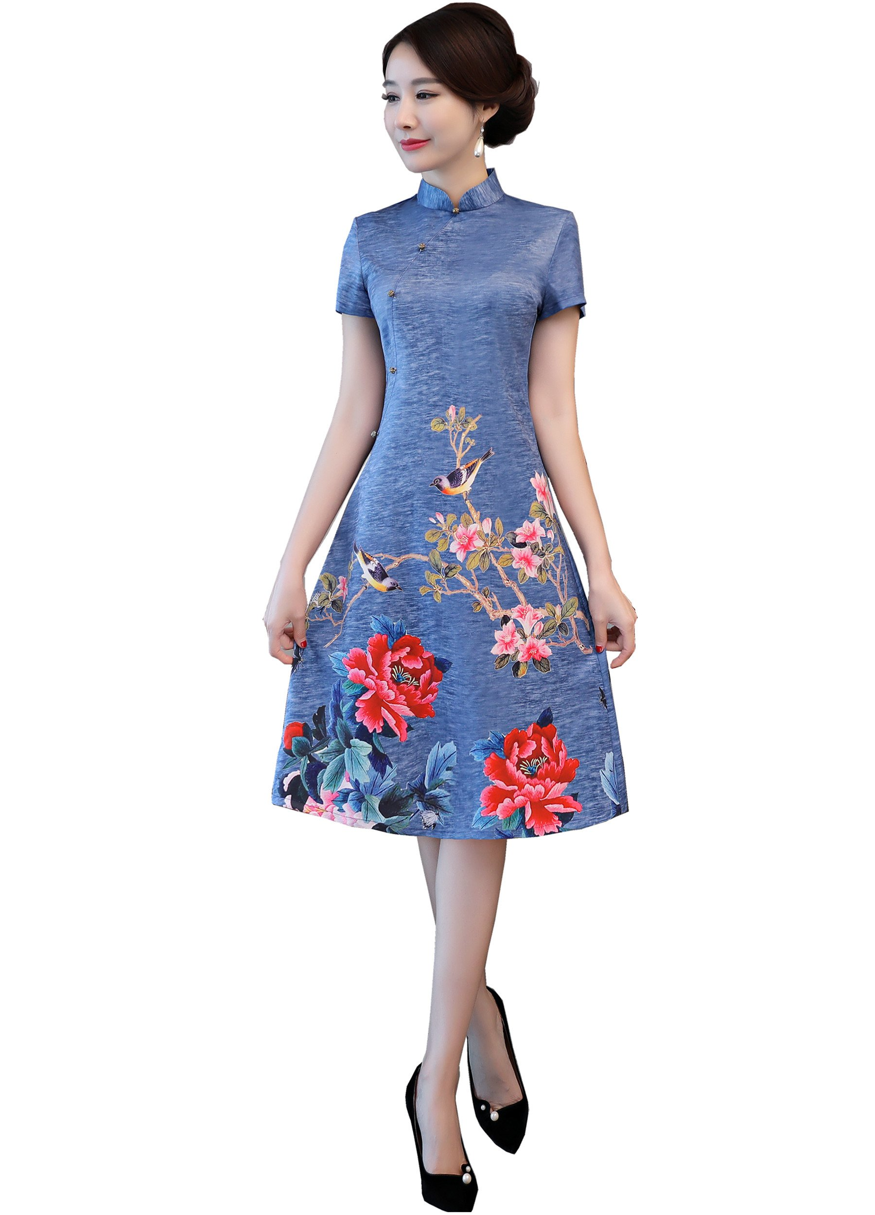 Shanghai Story Knee Length Floral Cheongsam Chinese Traditional Dress 3XL Blue