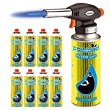 Bond Hardware® Blow Torch Butane Flamethrower Weed Burner Welding Gas Auto Ignition Soldering (Torch + 8 Refills)