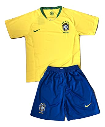 16ae62fdf45 2018 World Cup Brazil Football Team Kid s Children s Jersey Set with Shorts