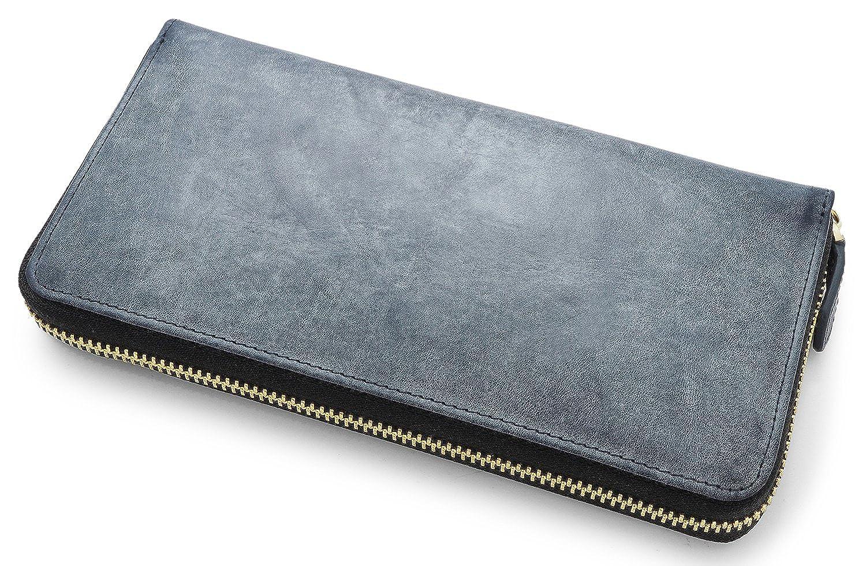 DOLGED (ドルジッド) ブライドルレザーで製作した 長財布 メンズ ラウンドファスナー 財布 本革 ブランド B075TSVGCB  グランネイビー