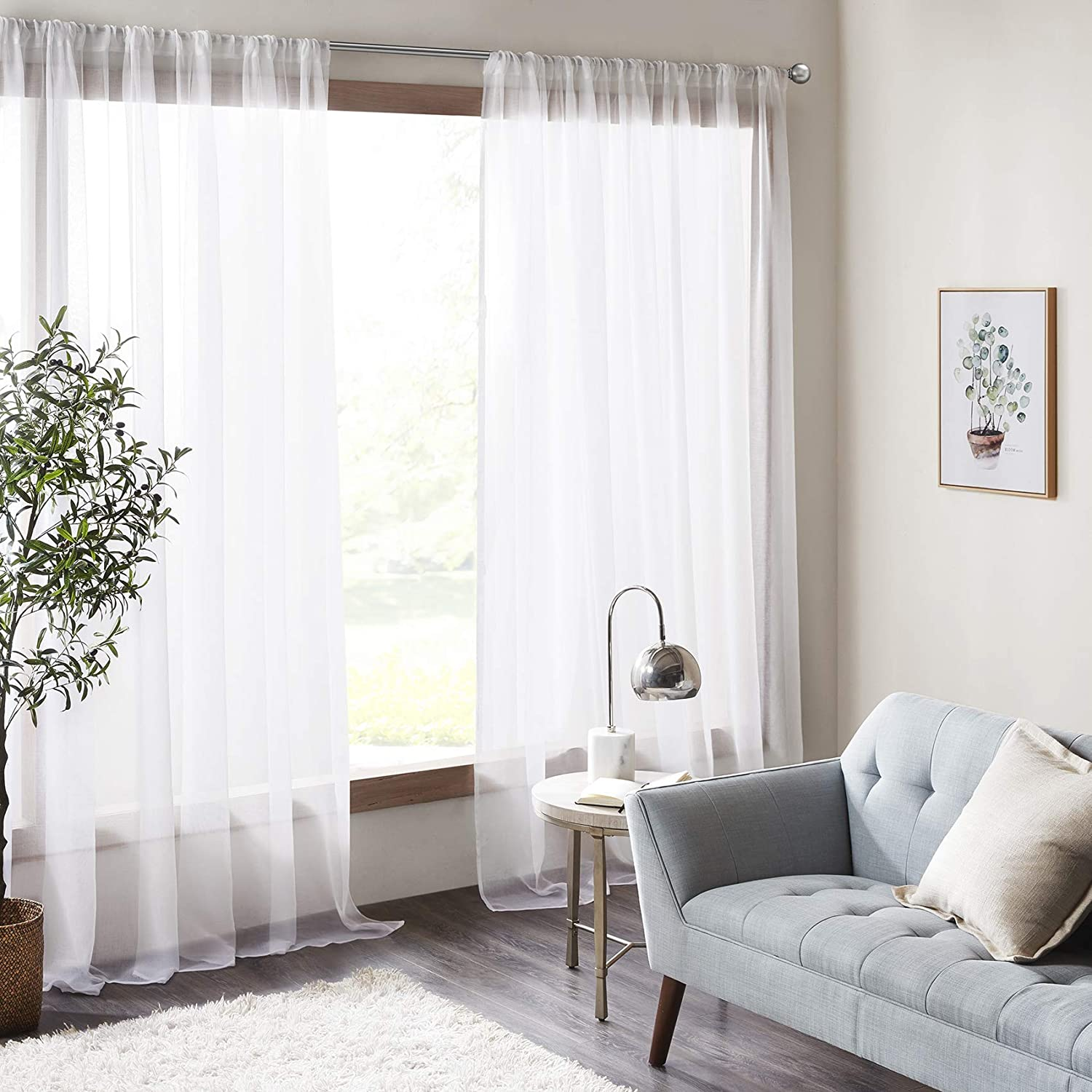 """Amari Cream White Bedroom Curtain - 2 Panels Classical Solid Voile Curtains, Ultra Sheer Curtains High Thread with Rod Pocket (Cream, 140 W x 175 L) 56"""" wide x 69"""" drop (140cm x 175cm) Cream White"""