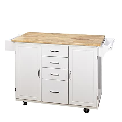 target marketing systems two toned country cottage rolling kitchen cart with 4 drawers 2 - Kitchen Cart Target