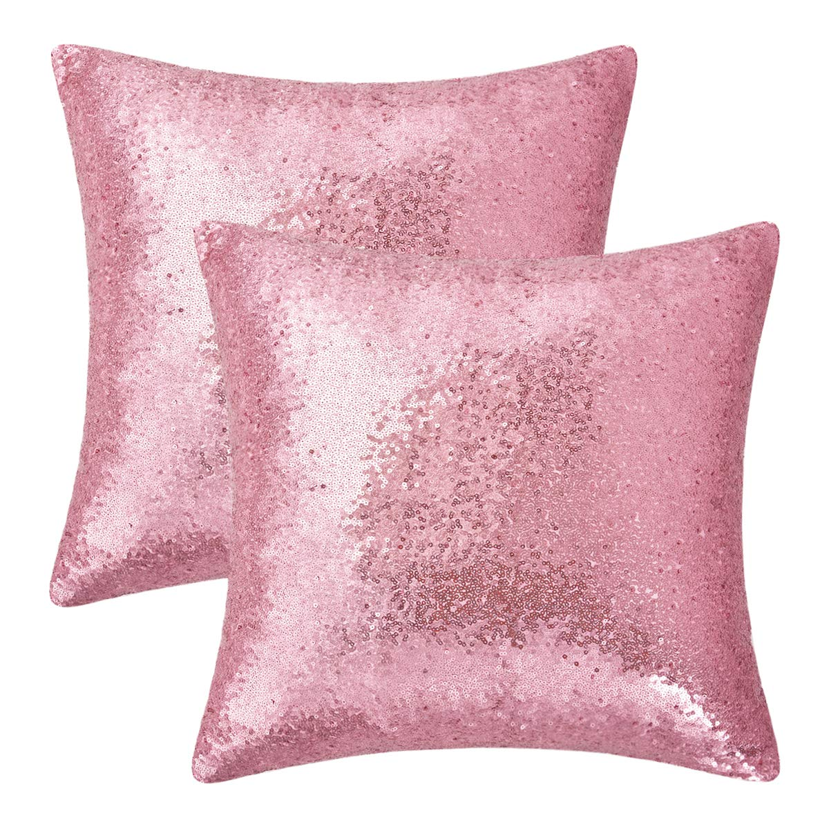 BLEUM CADE Set of 2 Rose Gold Pillow Covers Sparkling Sequins Pillow Covers Mermaid Sequin Throw Pillow Covers Cushion Covers Pillowcases Party Holiday Decoration 18 x 18 Inch