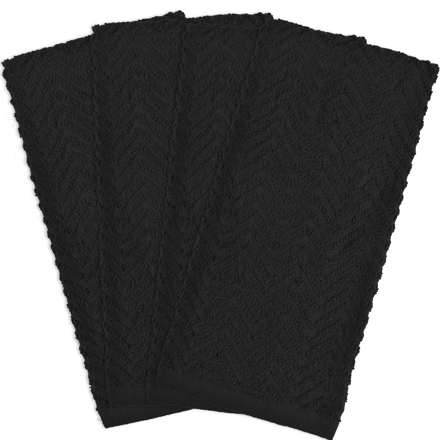 DII Cotton Zig Zag Weave Dish Towels, 16 x 28 Set of 4, Heavy Duty Kitchen Bar Mop for Drying & Cleaning-Black