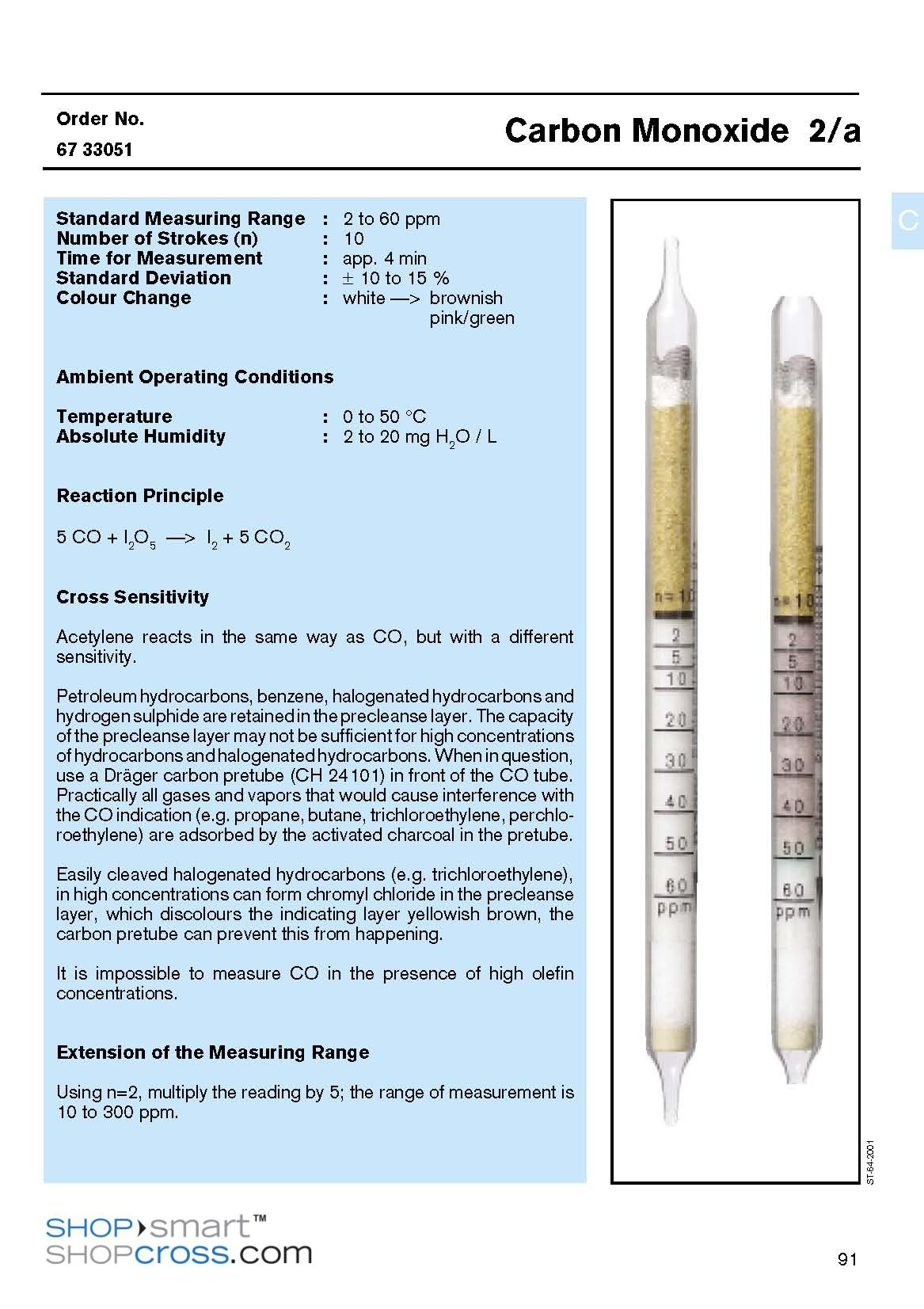 Draeger Tubes Carbon Monoxide 2a 6733051