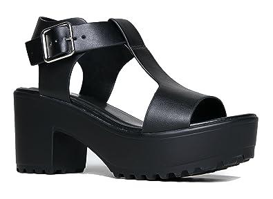 77d7d6d773f4 ZooShoo Chunky Wide T-Strap Platform Heel Sandal 6.5