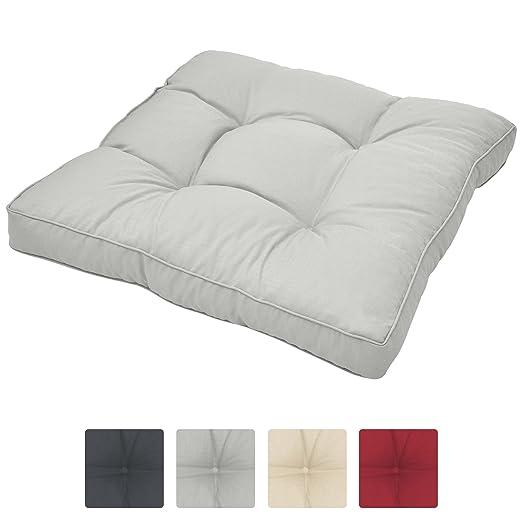 Beautissu Cojines para Muebles de jardín XLuna Lounge sillas de Mimbre de Exterior Asiento Grueso Acolchado Aprox. 60x60x10 cm Gris Claro