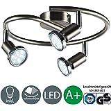 Plafonnier 3 spots LED/ 3x GU10 3W/250lumen/orientable/nickel mat [Classe énergétique A+]