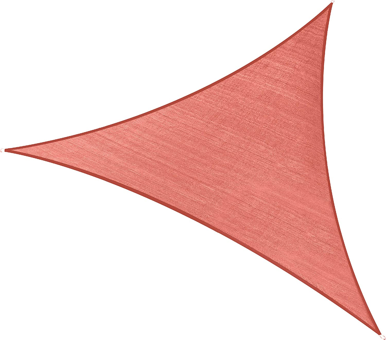 PHI VILLA Sun Shade Sail Triangle 16.5'x16.5'x16.5' Terra Cotta Patio Canopy Cover - UV Bloack - for Patio, Garden, Yard, Pergola