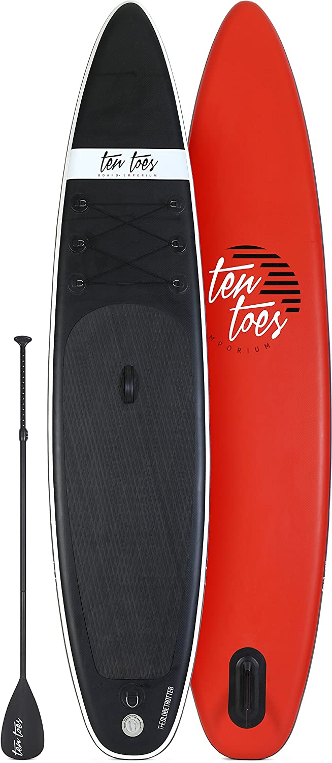 Amazon.com : Ten Toes 12' Globetrotter Inflatable Stand Up Paddle Board  Bundle, Black/Red - 2017 : Sports & Outdoors