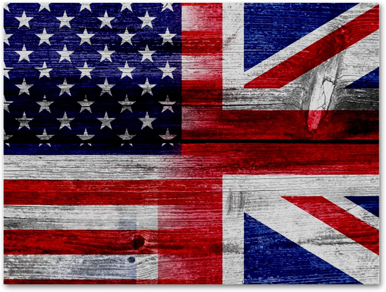 LORVIES American British Flag Oil Painting Printed on Canvas Framed Wall Art Decor Artwork for Home, Living Room Bedroom,Office