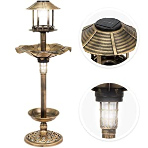 Best Choice Products Decorative Garden Solar-Powered LED Pedestal Bird Bath Feeder