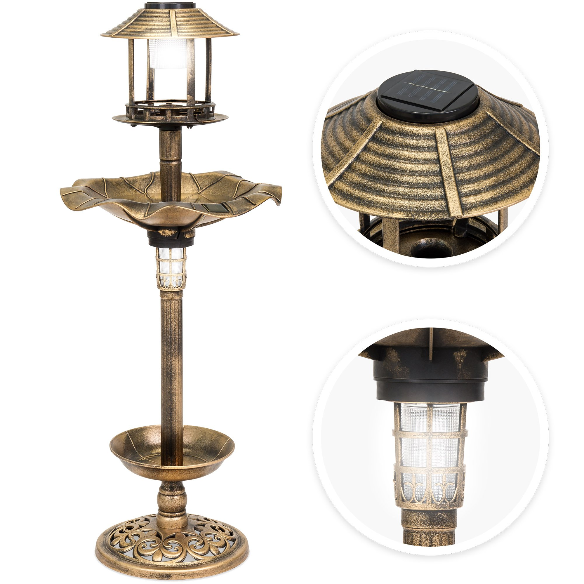 Best Choice Products Decorative Garden Solar-Powered LED Pedestal Bird Bath Feeder w/Planter, Lamp Topper - Bronze by Best Choice Products