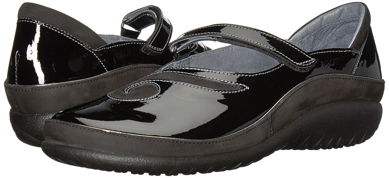 NAOT Women's Matai Mary Jane Flat B01NBWTQPV 37 Medium EU (6 US)|Black Patent Leather/Black Velvet Nubuck