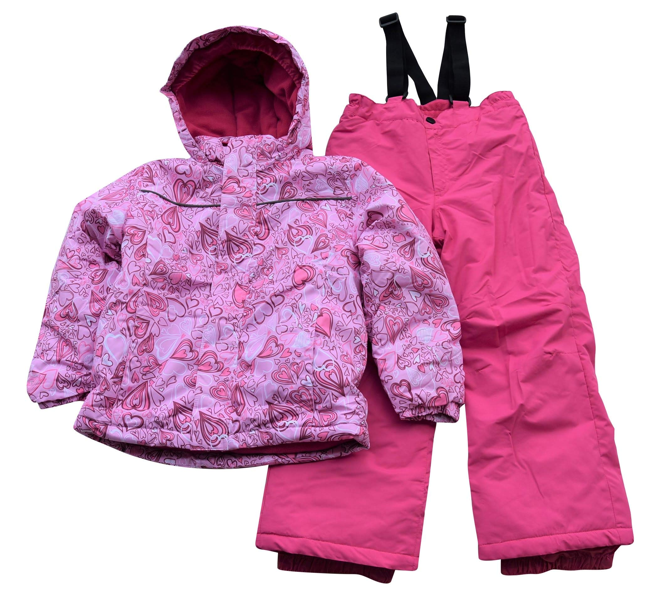 Snow Country Outerwear Little Girls Snowsuit Ski Jacket and Snow Pants Set (Medium (6), Pink Heart) by Snow Country Outerwear