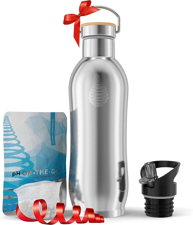 pH ACTIVE - Botella térmica con filtro de agua alcalina - Aislamiento doble y tapón deportivo - Acero inoxidable - Modelo de 2019-950 ml