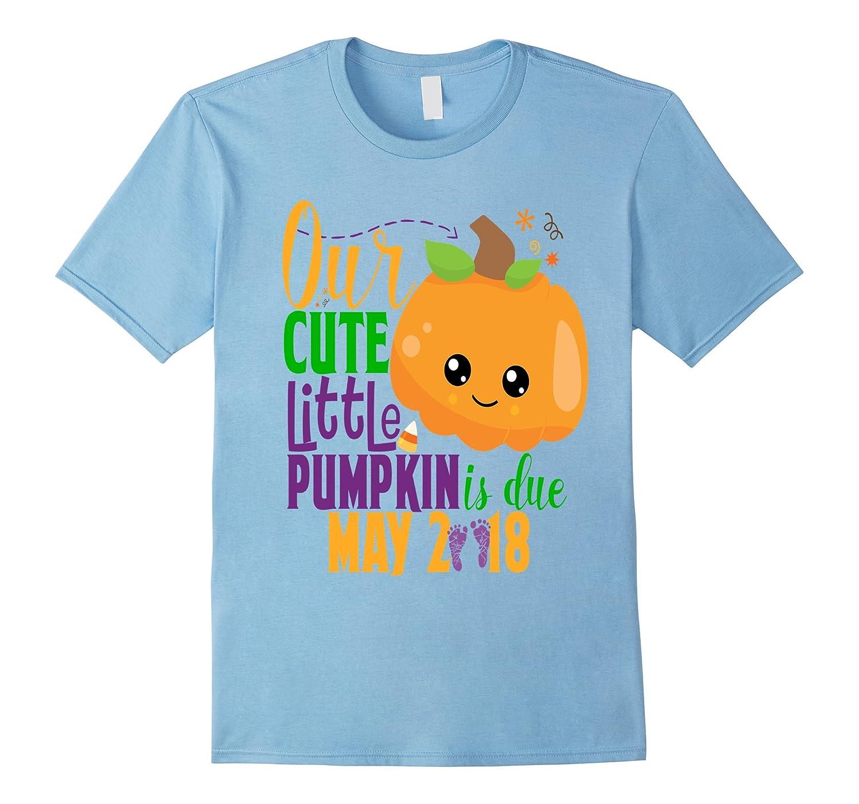 Halloween Pregnancy Shirt Our Pumpkin is Due May 2018-FL