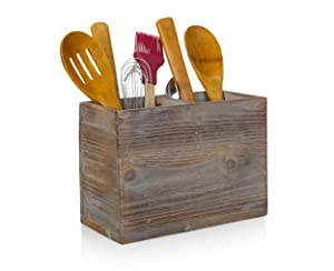 """Besti Rustic Kitchen Utensil Holder With 2 Compartments 