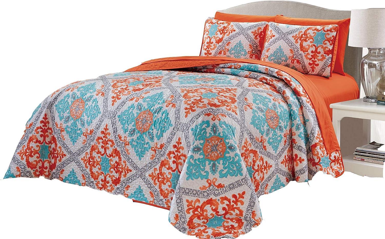 Micasa 7 Piece Oversized Reversible Bedpsread Quilt Set with Complete Sheet Set Orange Turquoise Floral Mandala Design (Queen)