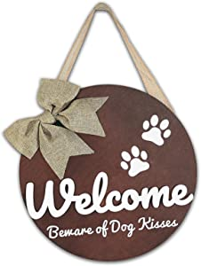 Welcome Sign Front Door Decor - Beware of Dog Kisses Welcome Wreaths for Front Door, Round Front Porch Decor with 3D Letter Design, Rustic Farmhouse Wall Hanging Vertical Door Decoration