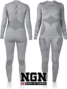 NGN Ropa Interior de esquí para Mujer de Noruega, Ropa Interior térmica Larga, Transpirable, Negra, Hermosa Ropa de esquí, Conjunto de Capa Base para Mujer, pantalón Deportivo y Camiseta para Mujer: Amazon.es: